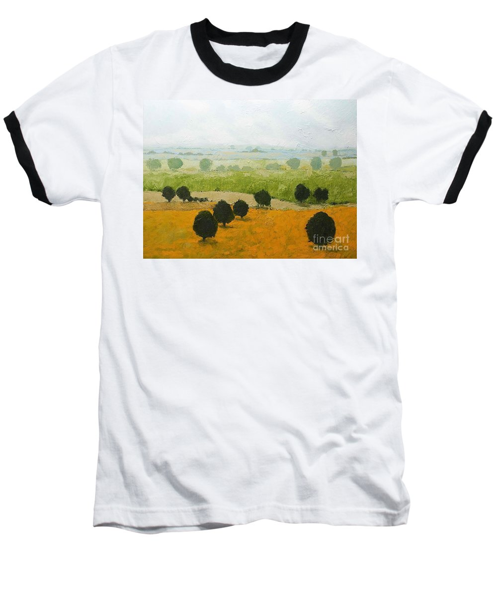 Landscape Baseball T-Shirt featuring the painting Fog Lifting Fast by Allan P Friedlander