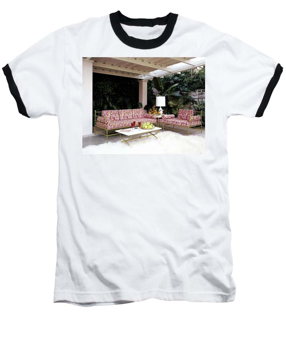 Garden Baseball T-Shirt featuring the photograph Garden-guest Room At The Chimneys by Tom Leonard