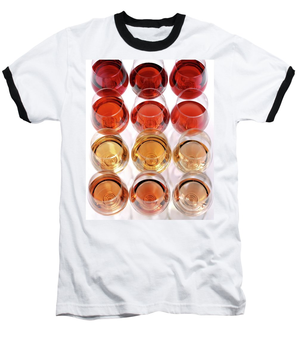 Food Baseball T-Shirt featuring the photograph Glasses Of Rose Wine by Romulo Yanes