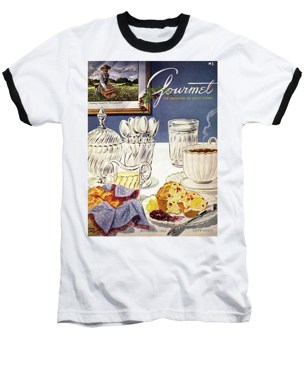 Food Baseball T-Shirt featuring the photograph Gourmet Cover Illustration Of Cranberry Muffins by Henry Stahlhut