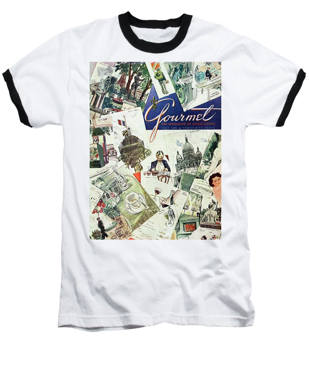 Illustration Baseball T-Shirt featuring the photograph Gourmet Cover Illustration Of Drawings Portraying by Henry Stahlhut