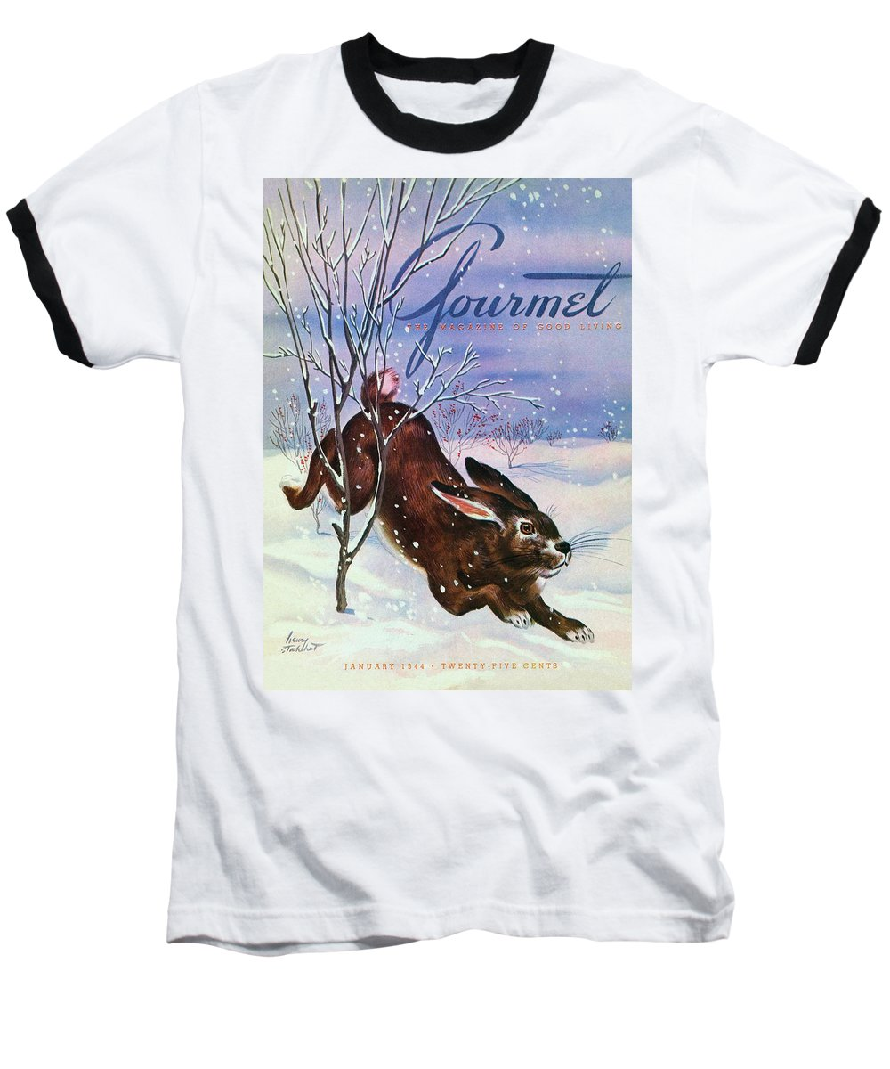 Illustration Baseball T-Shirt featuring the photograph Gourmet Cover Of A Rabbit On Snow by Henry Stahlhut