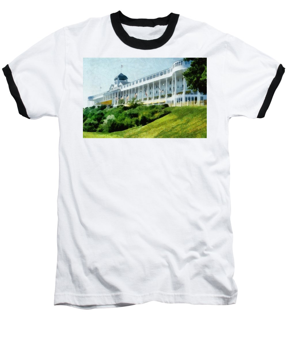 Hotel Baseball T-Shirt featuring the photograph Grand Hotel Mackinac Island Ll by Michelle Calkins