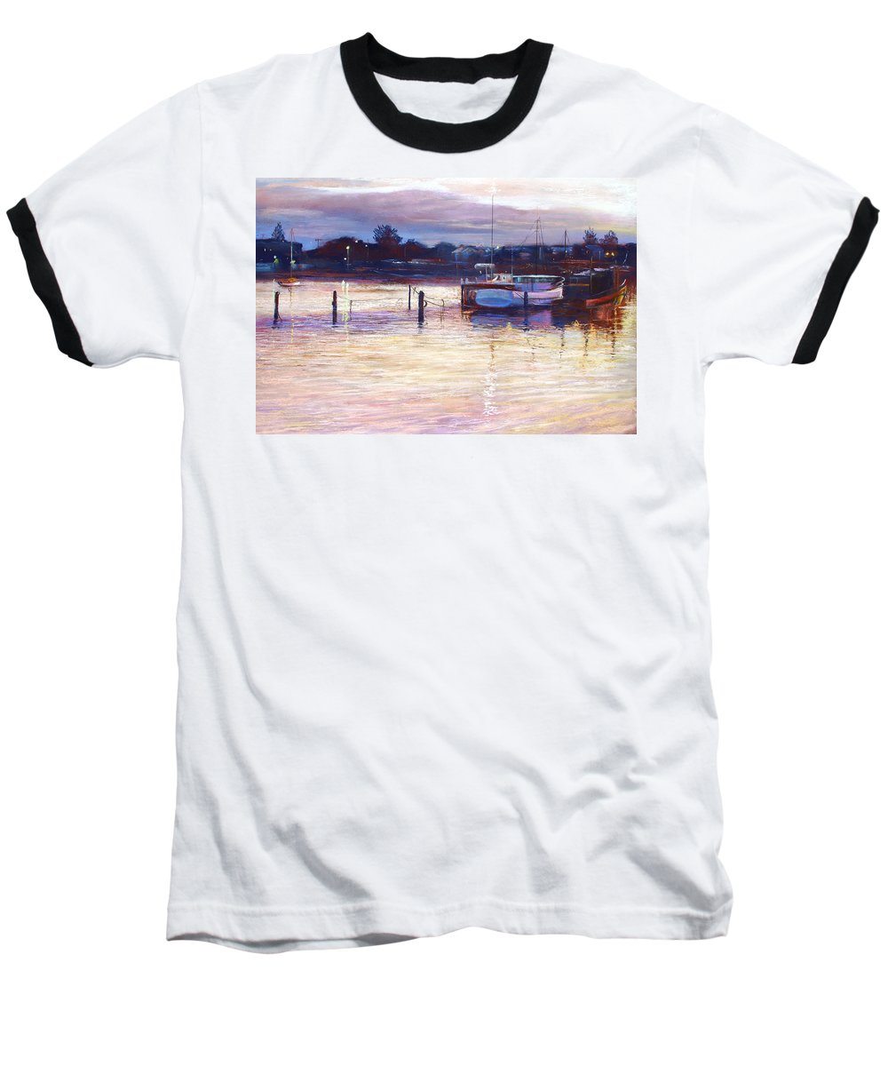 Lynda Robinson Baseball T-Shirt featuring the pastel Harbour Lights - Apollo Bay by Lynda Robinson