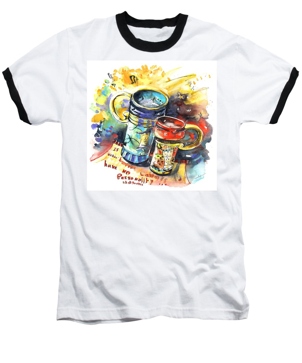Cafe Crem Baseball T-Shirt featuring the painting If It Were Not For Caffeine by Miki De Goodaboom