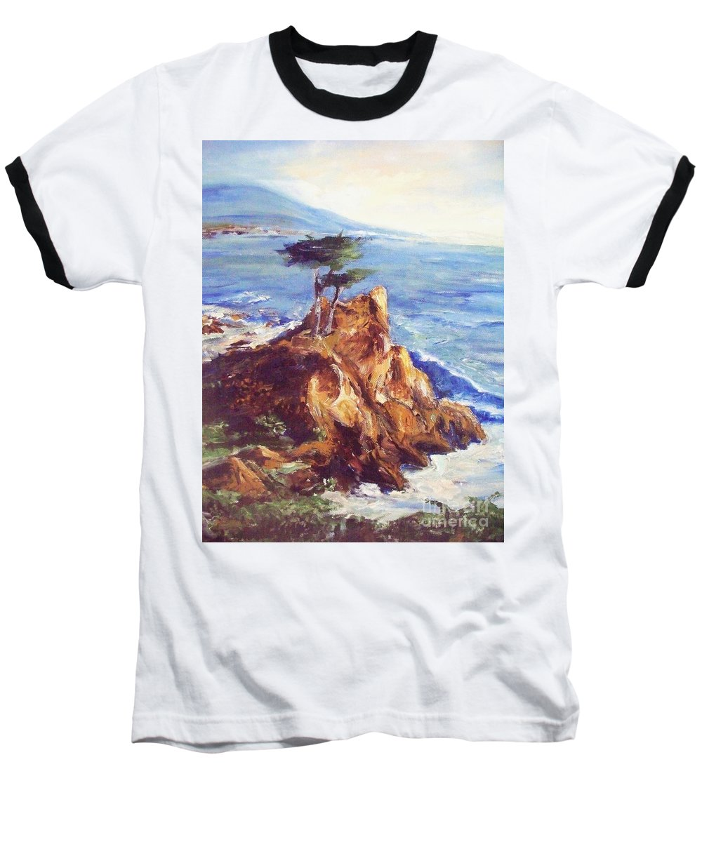 Seascape Baseball T-Shirt featuring the painting Imaginary Cypress by Eric Schiabor