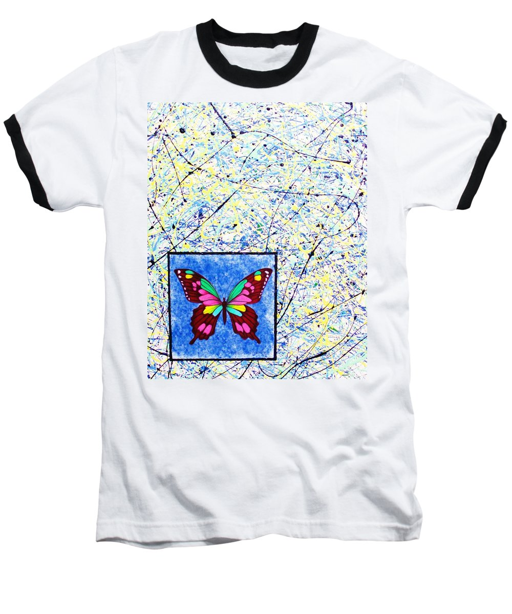 Abstract Baseball T-Shirt featuring the painting Imperfect I by Micah Guenther