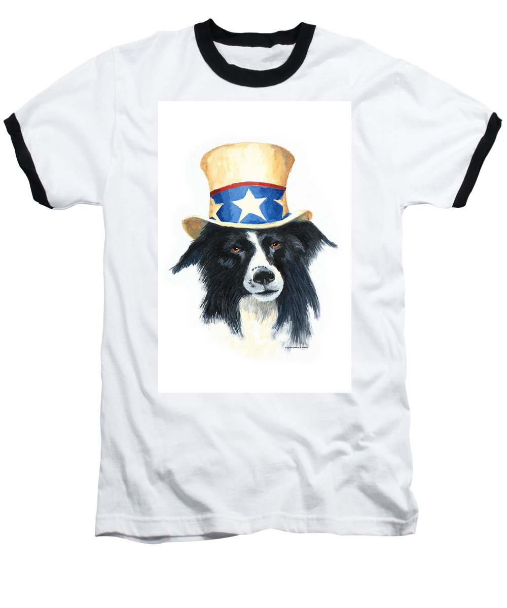 Dog Baseball T-Shirt featuring the painting In Dog We Trust by Jerry McElroy