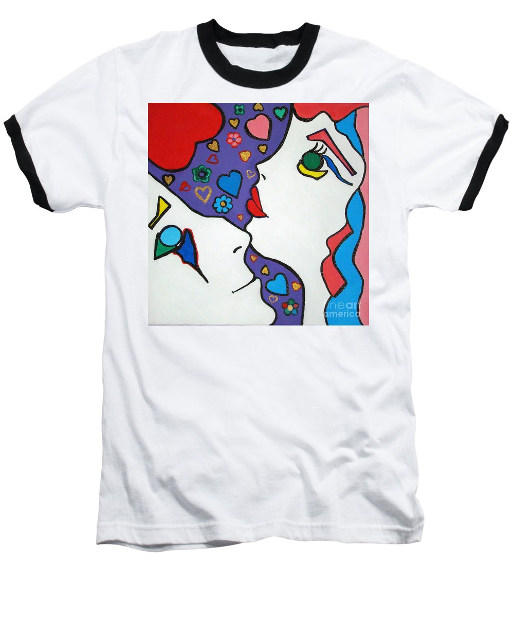 Pop-art Baseball T-Shirt featuring the painting In Love by Silvana Abel