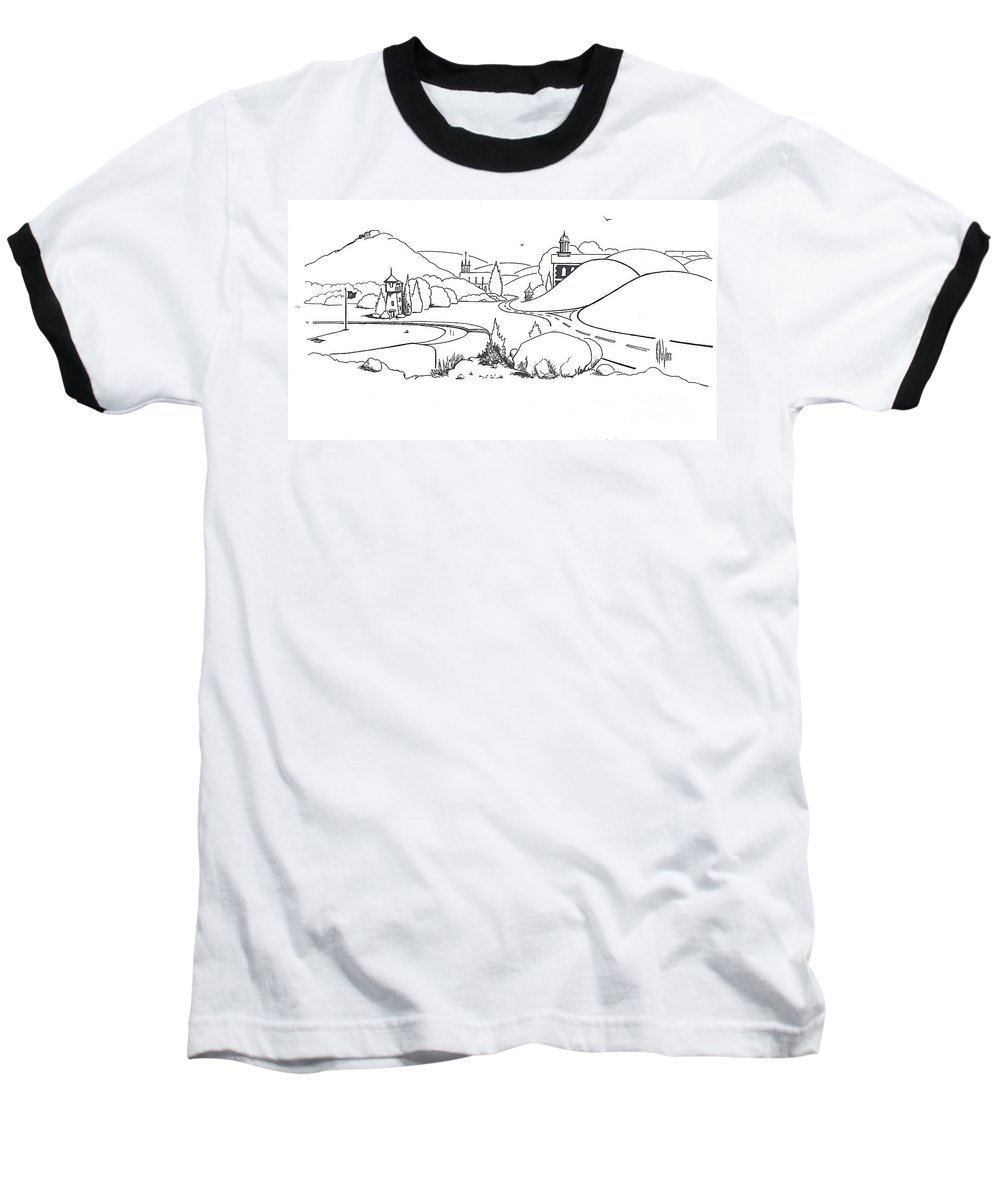 In The Land Of Brigadoon Baseball T-Shirt featuring the drawing In The Land Of Brigadoon by Kip DeVore