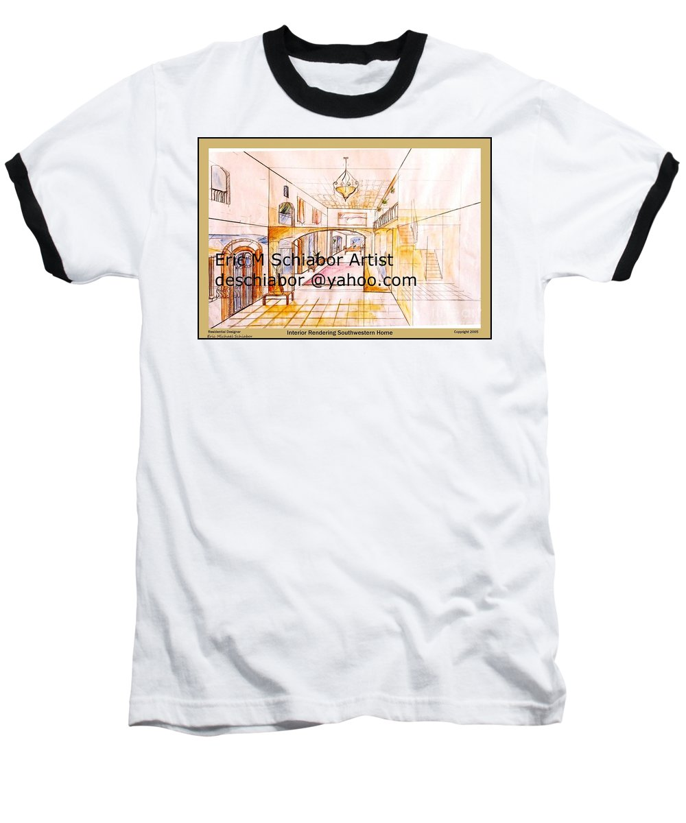 Interior Baseball T-Shirt featuring the painting Interior Perspective by Eric Schiabor