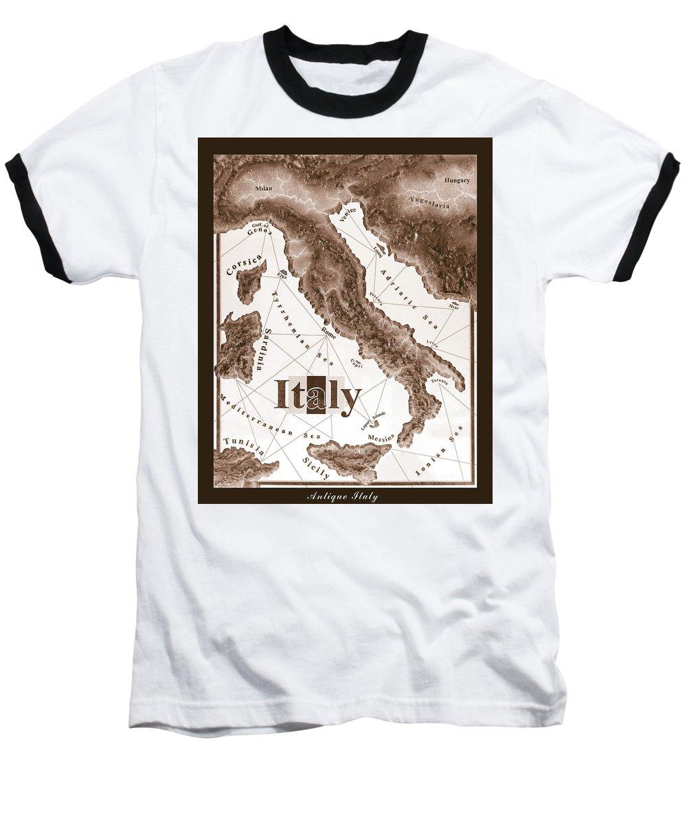 Italian Baseball T-Shirt featuring the mixed media Italian Map by Curtiss Shaffer