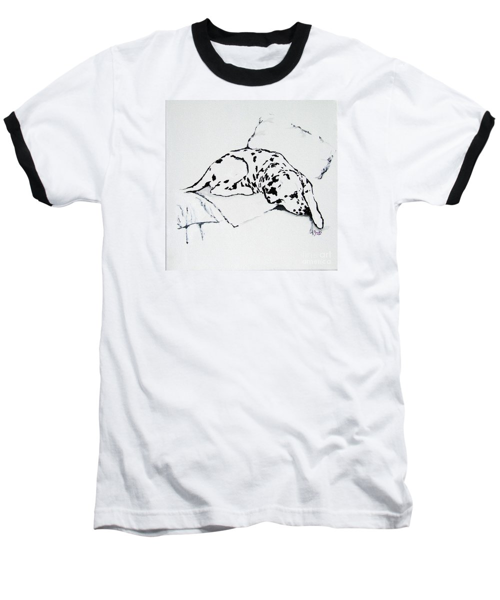 Dogs Baseball T-Shirt featuring the painting Lazy Day by Jacki McGovern