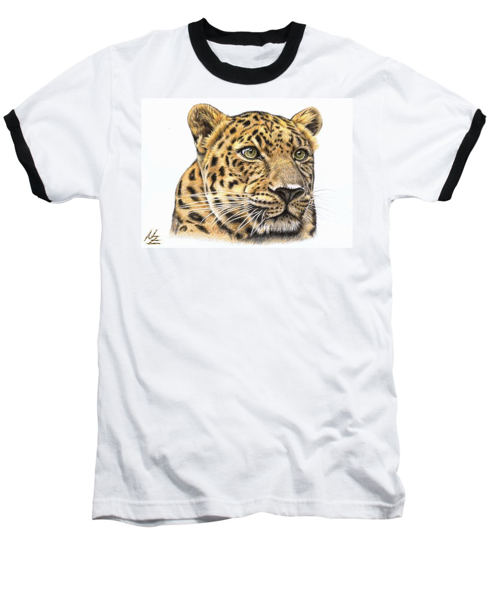 Leopard Baseball T-Shirt featuring the drawing Leopard by Nicole Zeug