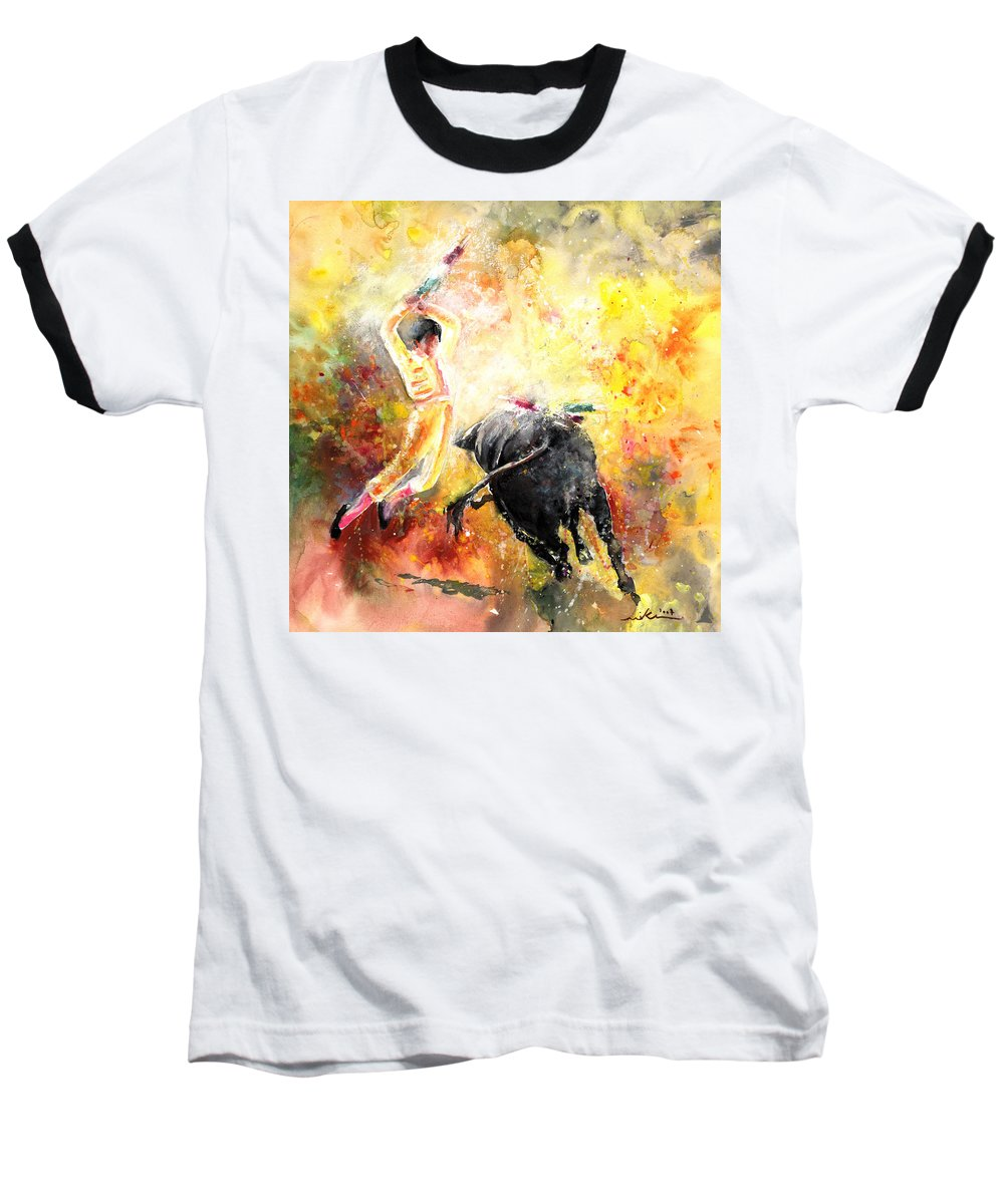 Animals Baseball T-Shirt featuring the painting Lightning Strikes by Miki De Goodaboom
