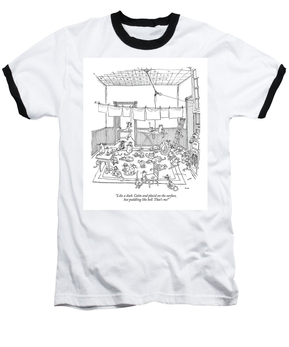(man Yelling While Taking A Bath.) Psychology Ego Artkey 44875 Baseball T-Shirt featuring the drawing Like A Duck. Calm And Placid On The Surface by George Booth