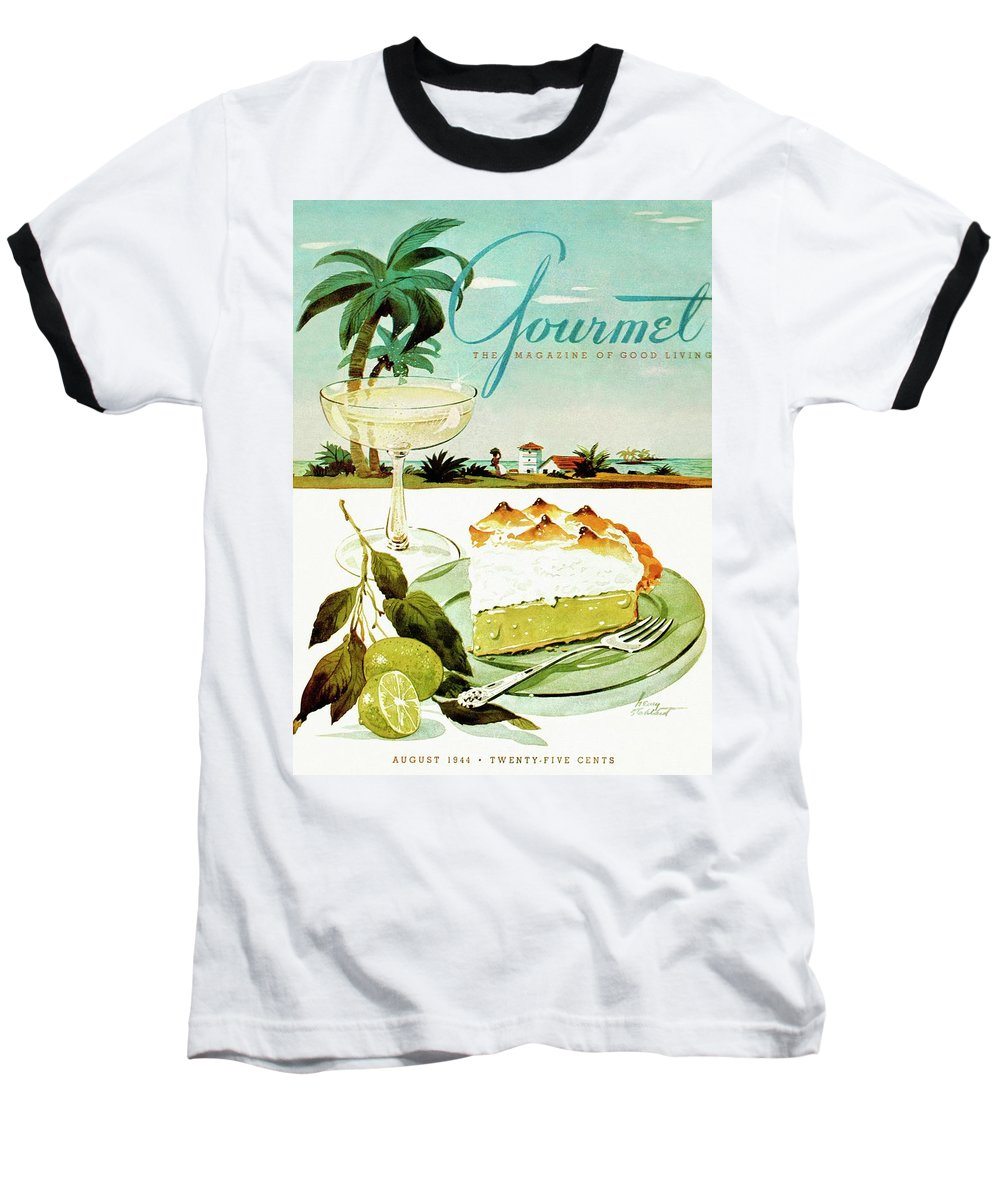 Food Baseball T-Shirt featuring the photograph Lime Meringue Pie With Champagne by Henry Stahlhut