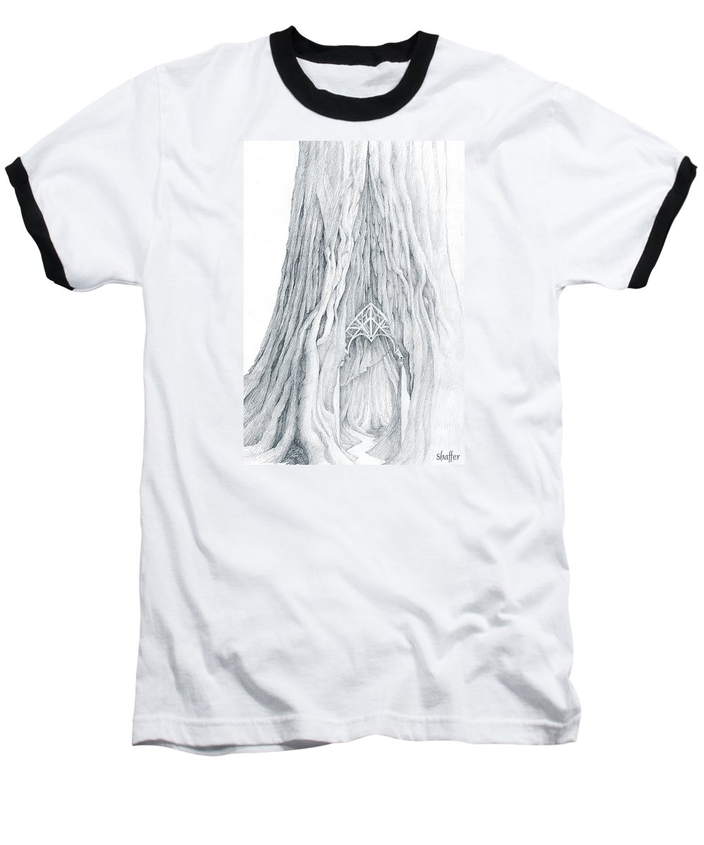 Lothlorien Baseball T-Shirt featuring the drawing Lothlorien Mallorn Tree by Curtiss Shaffer