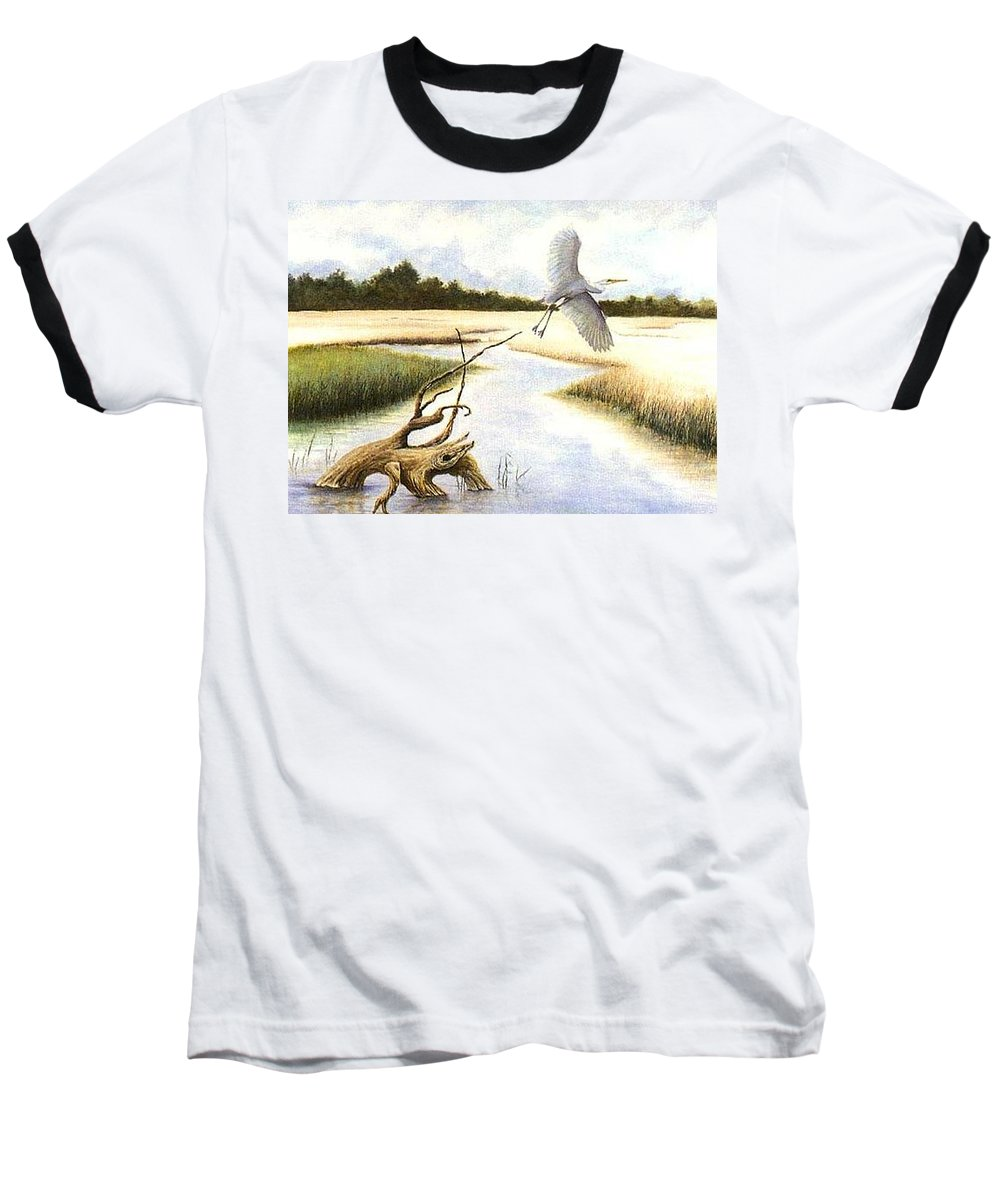 Egret Baseball T-Shirt featuring the painting Low Country Marsh by Ben Kiger