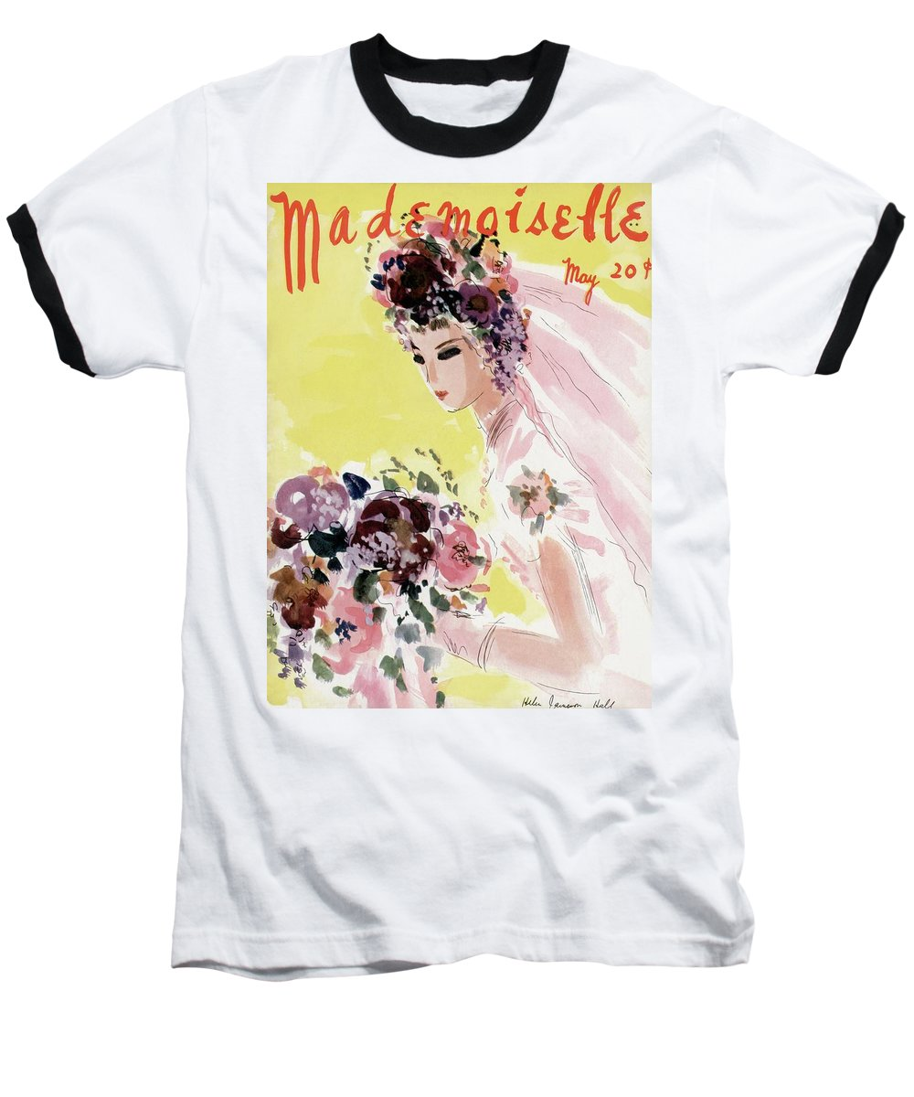 Illustration Baseball T-Shirt featuring the photograph Mademoiselle Cover Featuring A Bride by Helen Jameson Hall