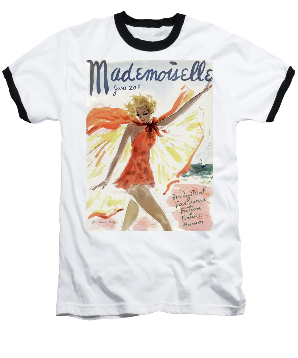 Illustration Baseball T-Shirt featuring the photograph Mademoiselle Cover Featuring A Model At The Beach by Helen Jameson Hall