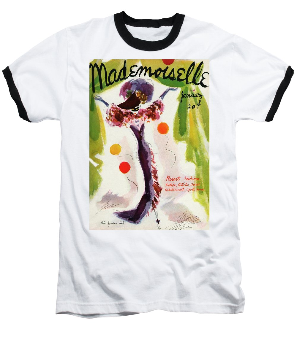 Illustration Baseball T-Shirt featuring the photograph Mademoiselle Cover Featuring A Model Wearing by Helen Jameson Hall