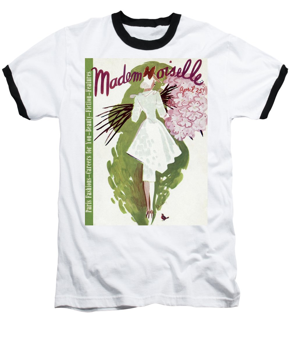 Fashion Baseball T-Shirt featuring the photograph Mademoiselle Cover Featuring A Woman Carrying by Elizabeth Dauber