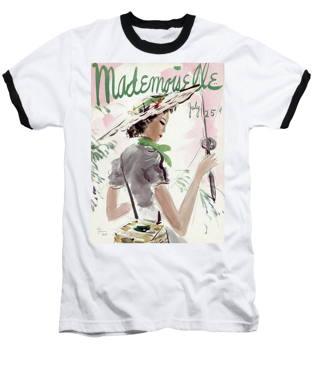 Illustration Baseball T-Shirt featuring the photograph Mademoiselle Cover Featuring A Woman Holding by Helen Jameson Hall