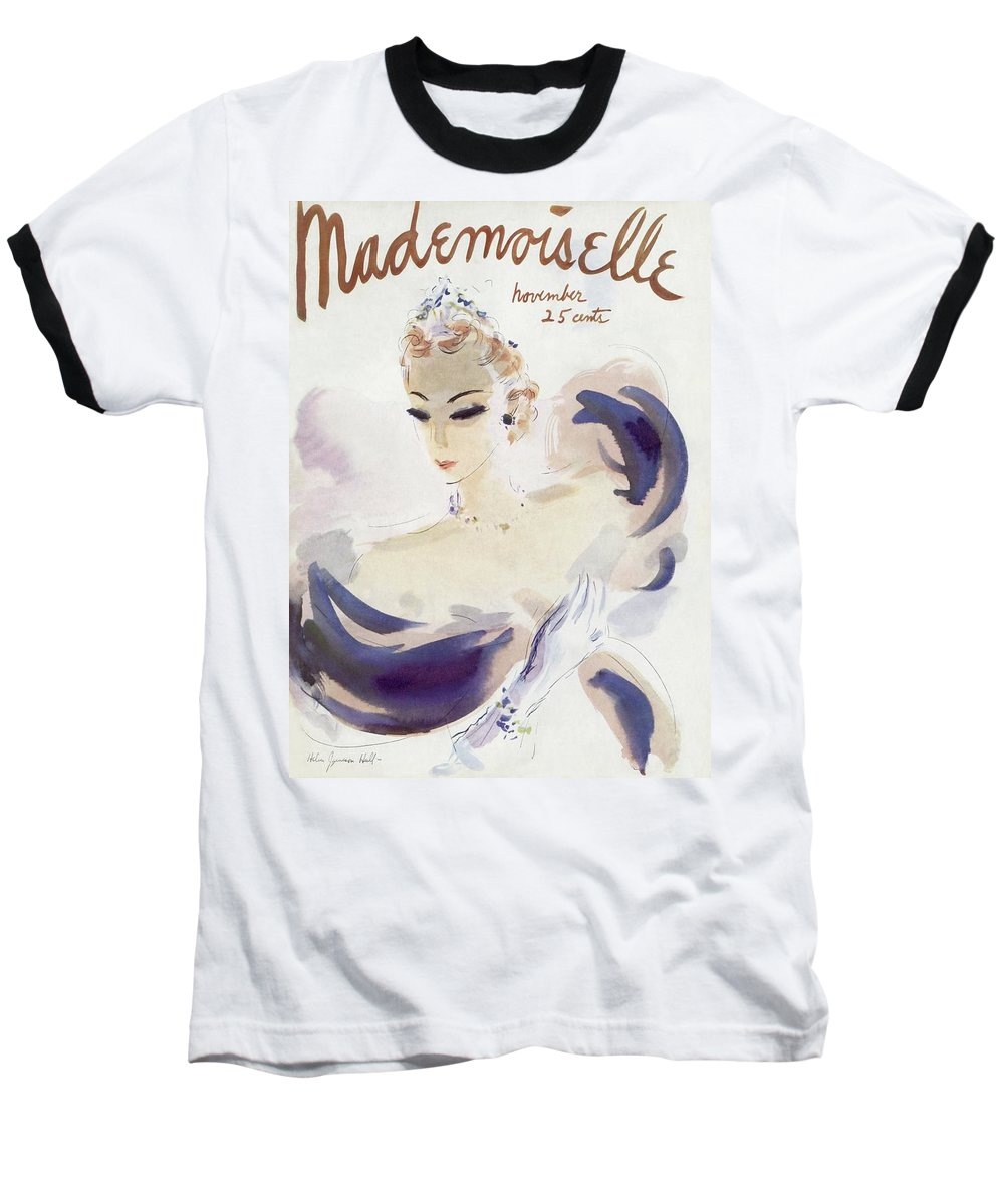 Fashion Baseball T-Shirt featuring the photograph Mademoiselle Cover Featuring A Woman In A Gown by Helen Jameson Hall