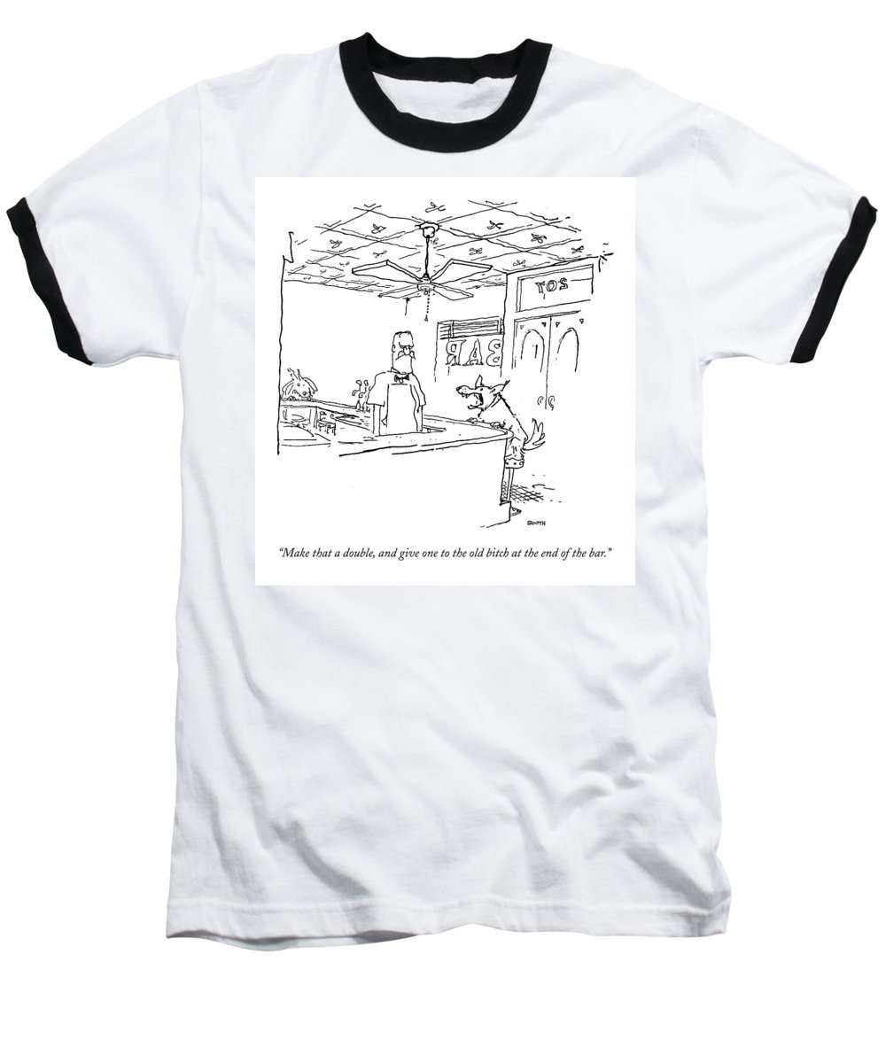 Bitch Baseball T-Shirt featuring the drawing Make That A Double by George Booth