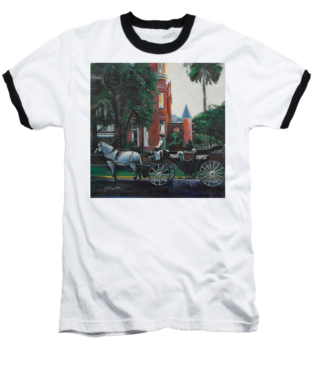 Baseball T-Shirt featuring the painting Mansion On Forsythe Savannah Georgia by Jude Darrien