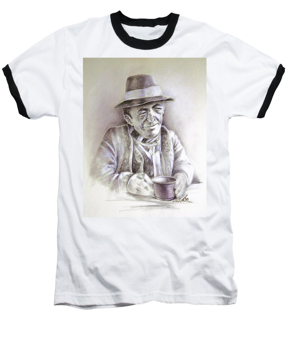 Portrait Michael Anderson Baseball T-Shirt featuring the painting Michael J Anderson by Miki De Goodaboom