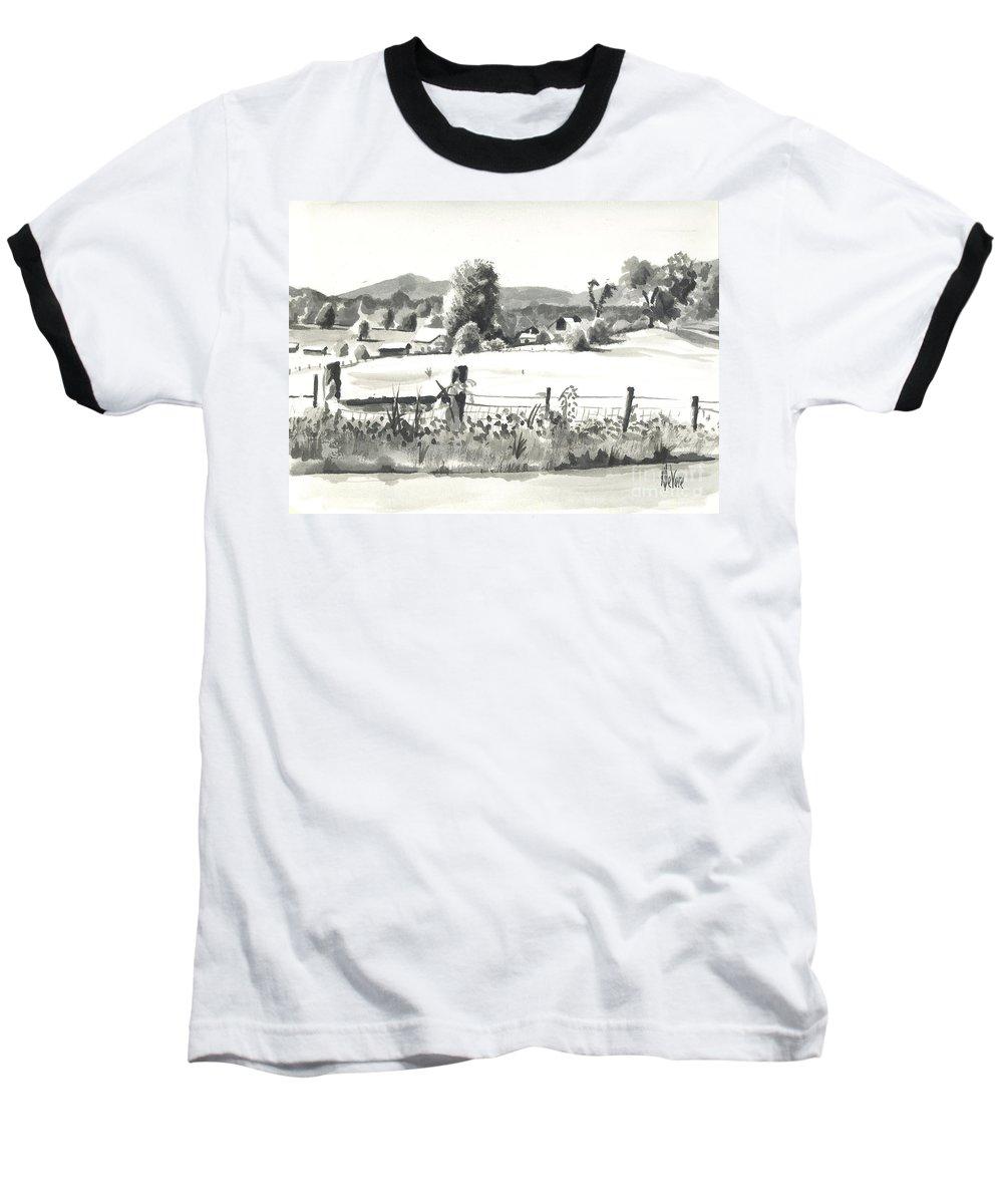 Midsummer View Out Route Jj  No I101 Baseball T-Shirt featuring the painting Midsummer View Out Route Jj  No I101 by Kip DeVore