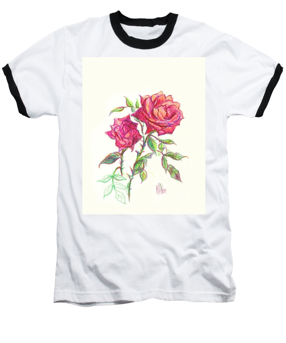 Nature Baseball T-Shirt featuring the painting Minature Red Rose by Kip DeVore