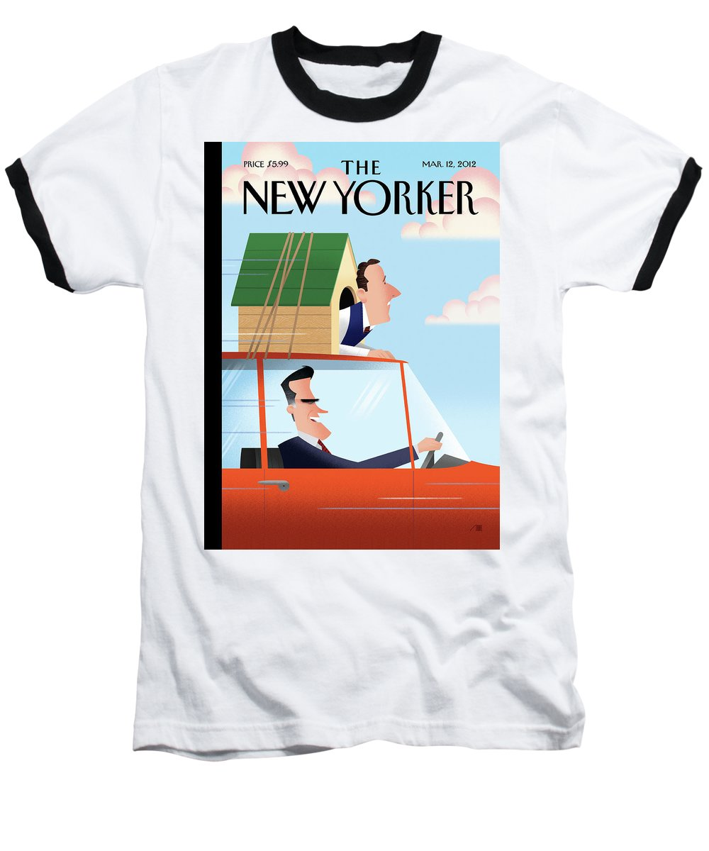 Election Baseball T-Shirt featuring the painting Mitt Romney Driving With Rick Santorum In A Dog by Bob Staake