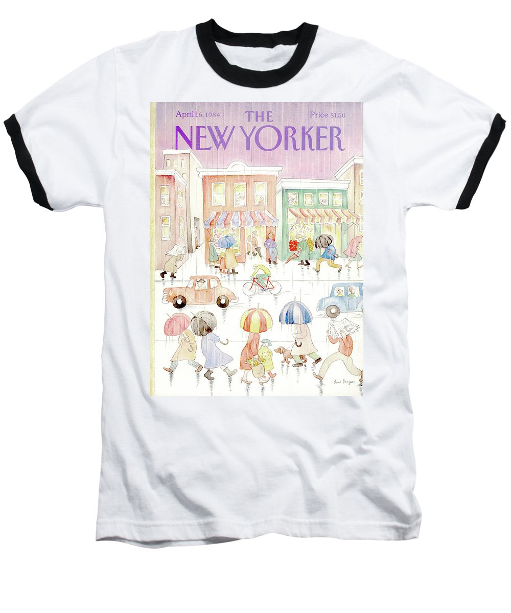 Rain Baseball T-Shirt featuring the painting New Yorker April 16th, 1984 by Anne Burgess