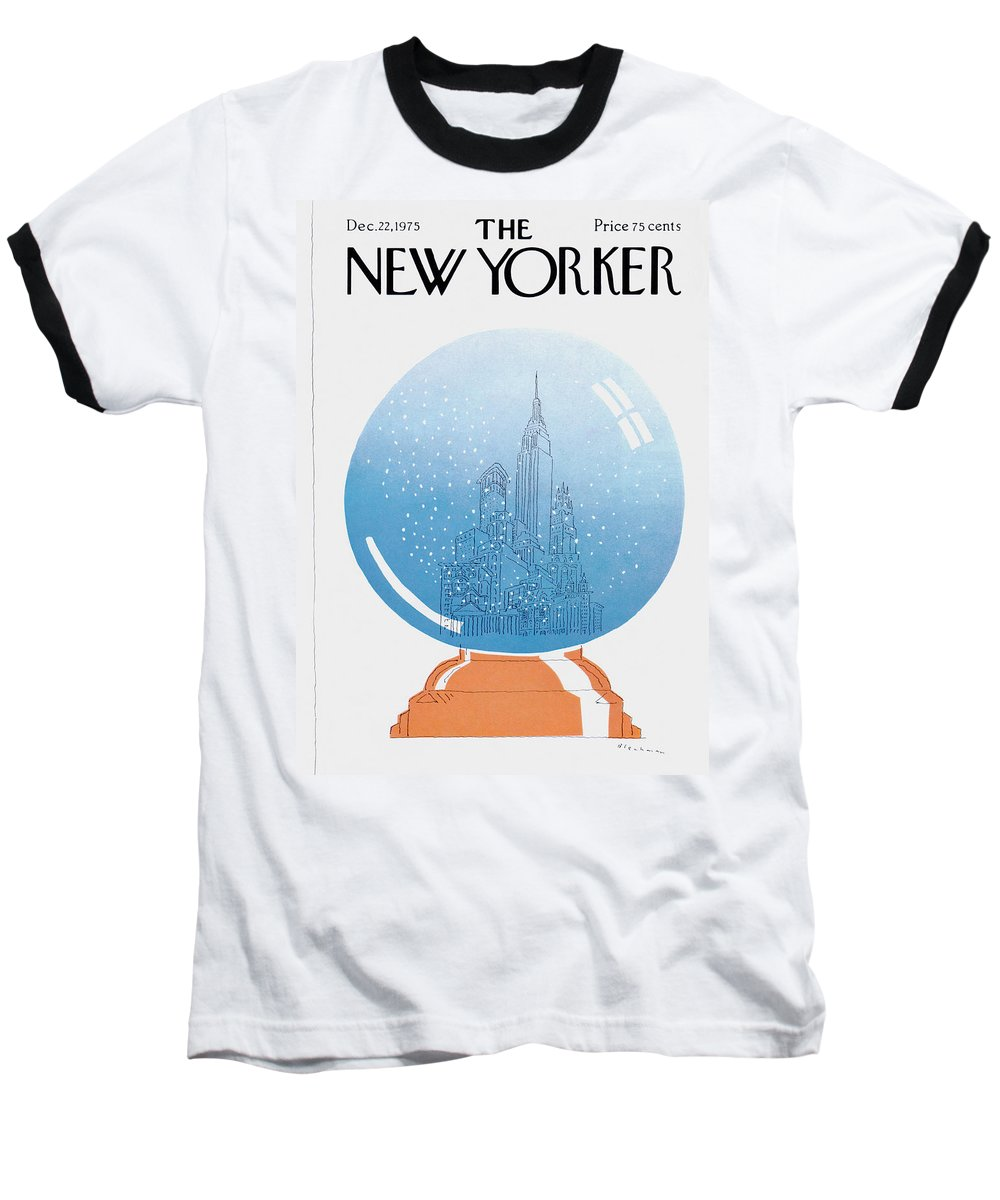 City Baseball T-Shirt featuring the painting New Yorker December 22nd, 1975 by RO Blechman