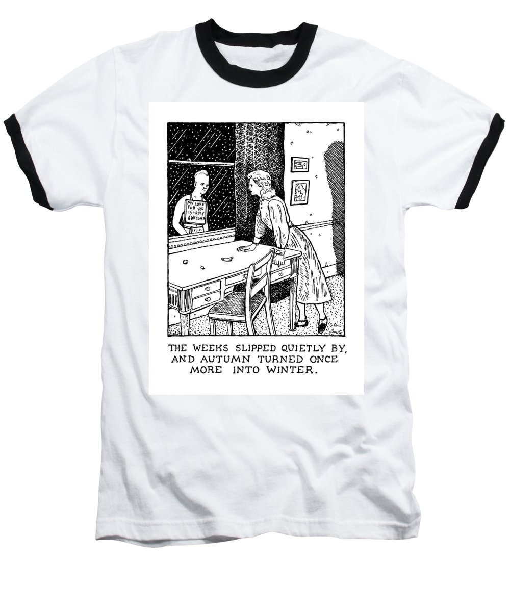 Love Baseball T-Shirt featuring the drawing New Yorker January 27th, 1992 by Glen Baxter