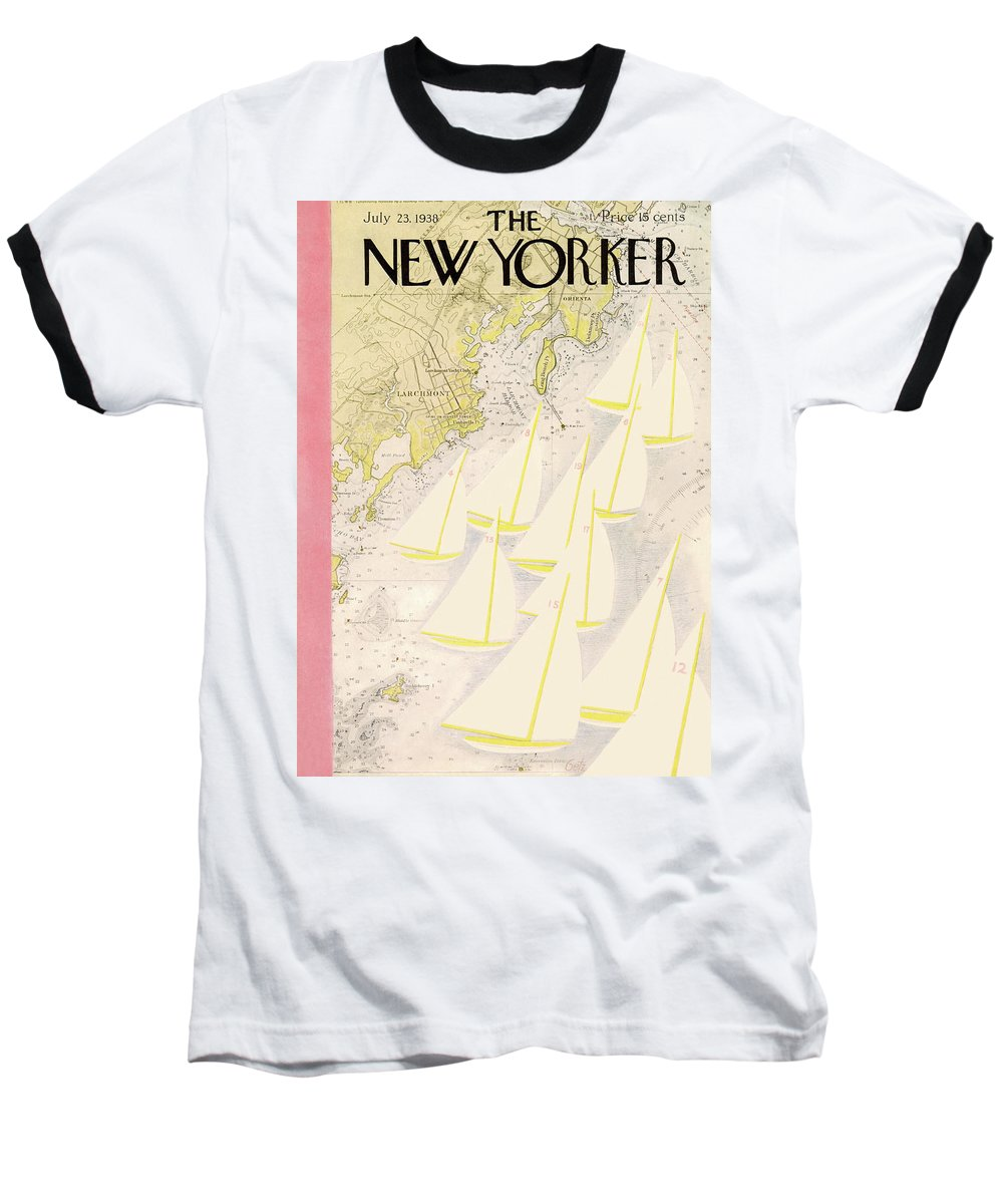 Illustration Baseball T-Shirt featuring the painting New Yorker July 23rd, 1938 by Arthur Getz