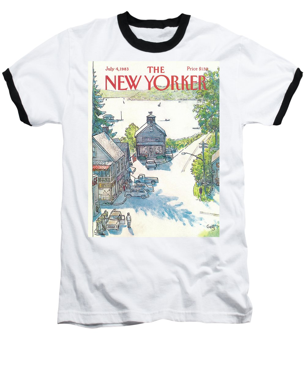 Rural Baseball T-Shirt featuring the painting New Yorker July 4th, 1983 by Arthur Getz