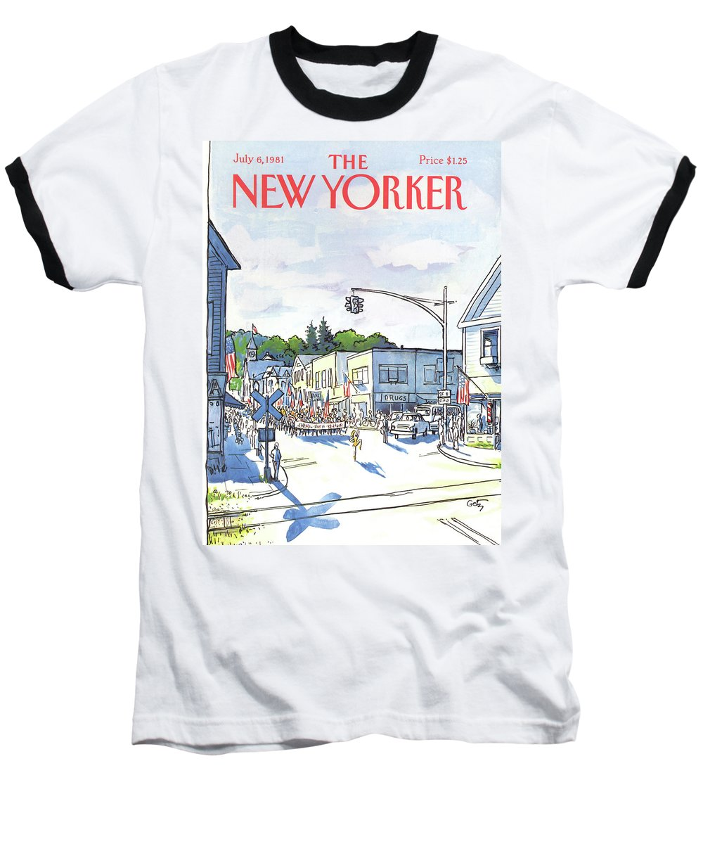 Entertainment Baseball T-Shirt featuring the painting New Yorker July 6th, 1981 by Arthur Getz