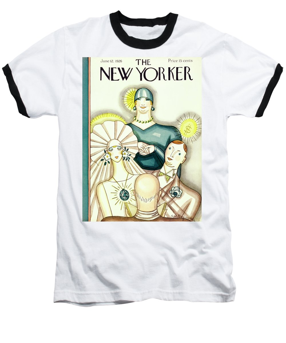 Illustration Baseball T-Shirt featuring the painting New Yorker June 12 1926 by Stanley W Reynolds