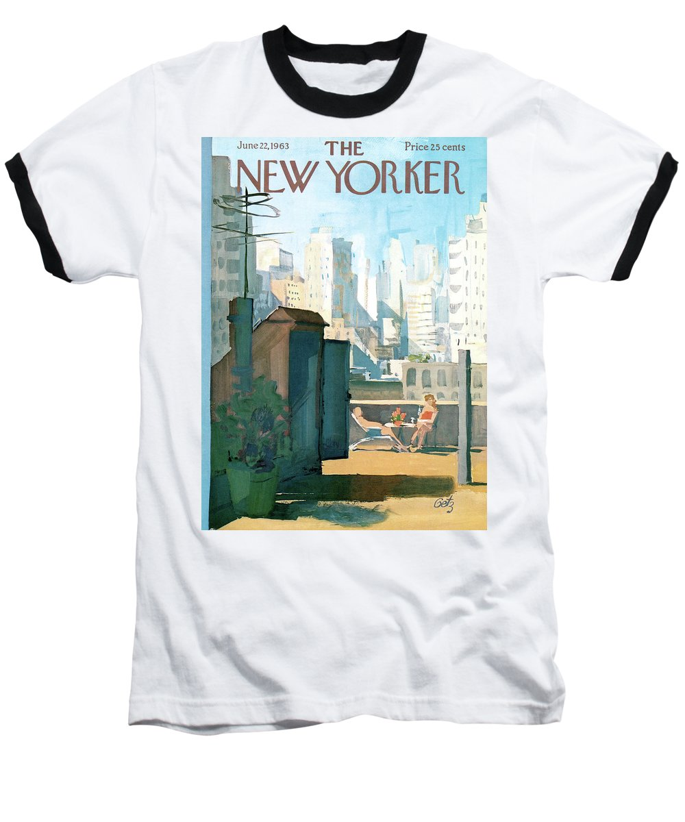 Baseball T-Shirt featuring the painting New Yorker June 22nd, 1963 by Arthur Getz