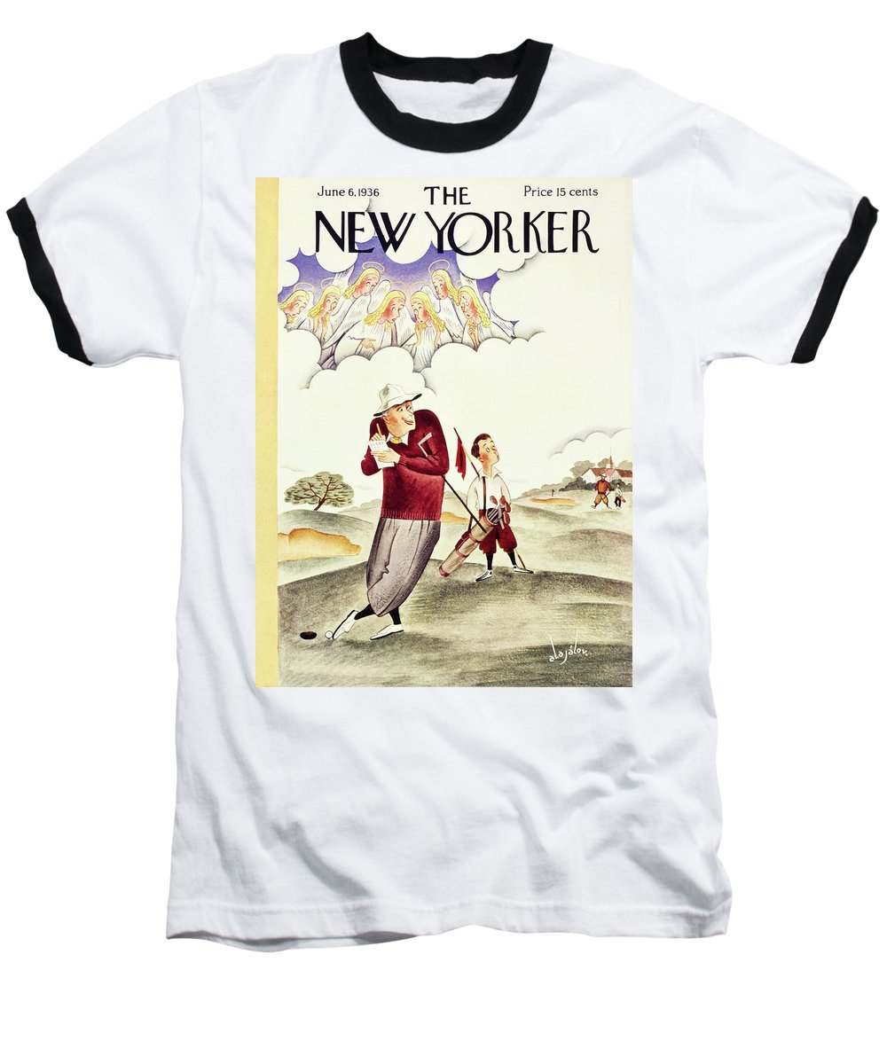 Illustration Baseball T-Shirt featuring the painting New Yorker June 6 1936 by Constantin Alajalov