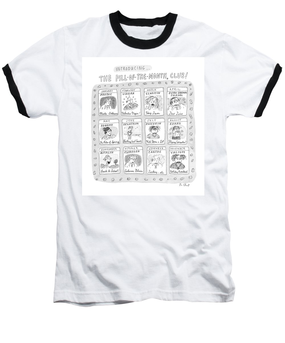 Drug Baseball T-Shirt featuring the drawing New Yorker June 8th, 1998 by Roz Chast