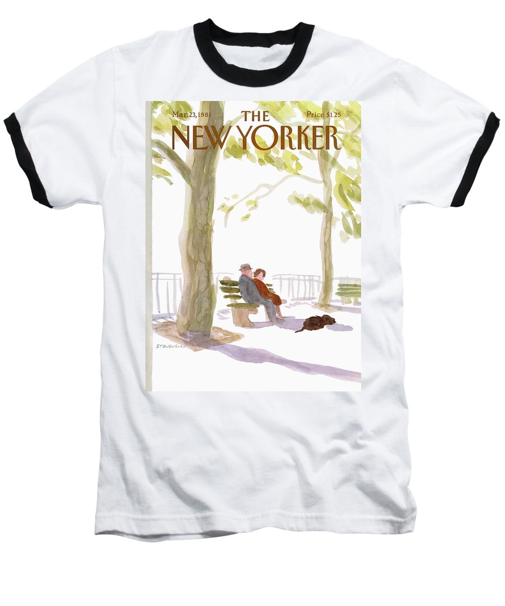 Nature Baseball T-Shirt featuring the painting New Yorker March 23rd, 1981 by James Stevenson
