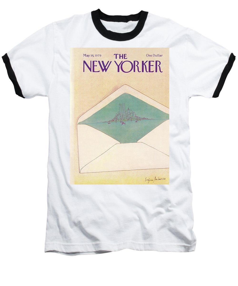 Eugene Mihaesco Emi Baseball T-Shirt featuring the painting New Yorker May 14th, 1979 by Eugene Mihaesco