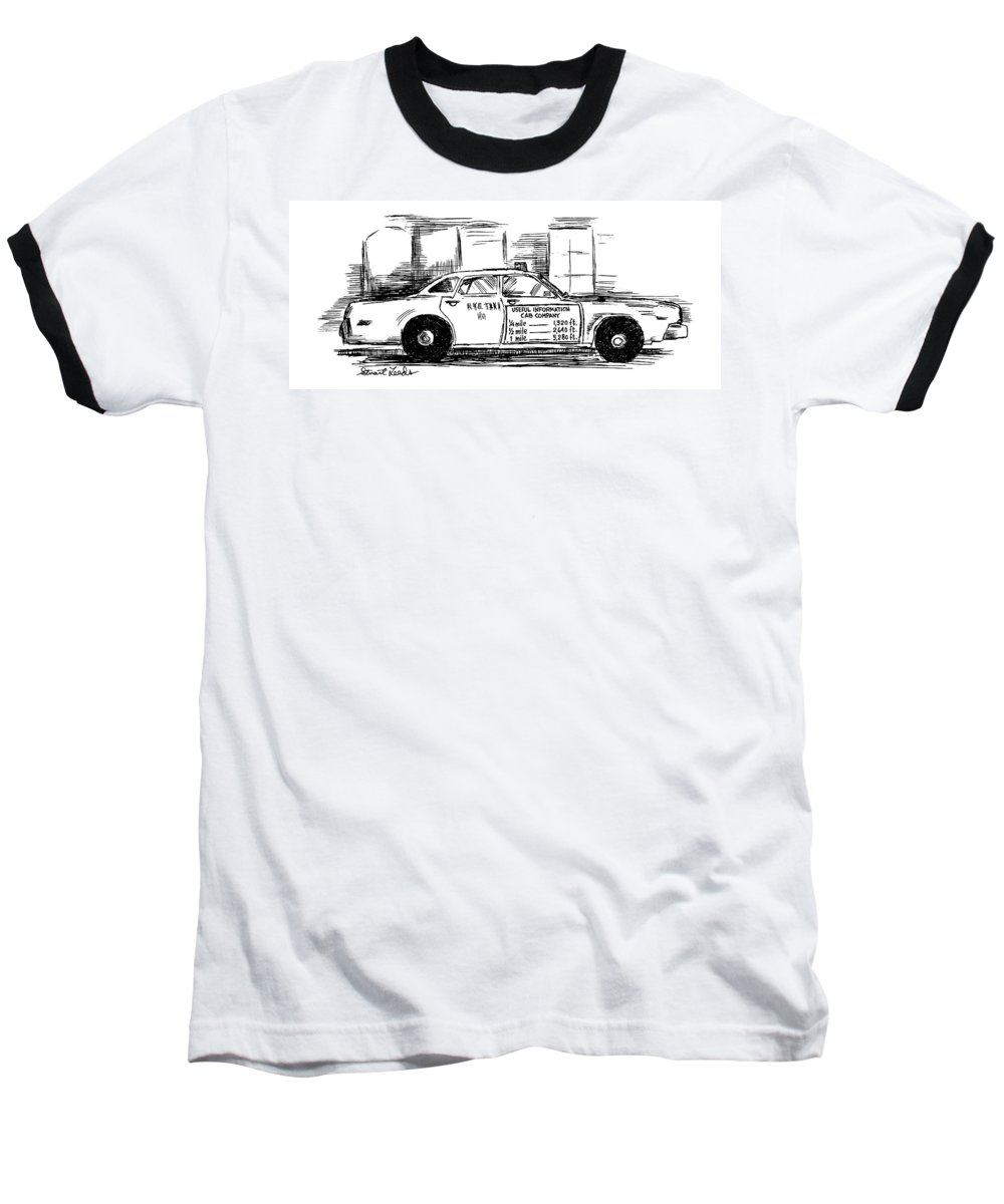 Taxis - General Baseball T-Shirt featuring the drawing New Yorker May 17th, 1999 by Stuart Leeds
