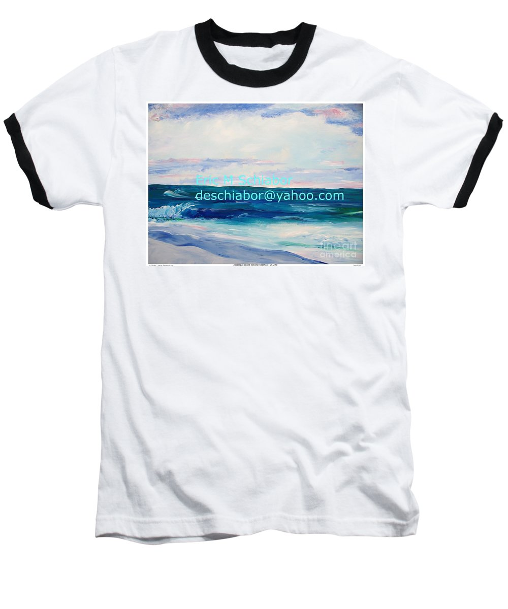 Floral Baseball T-Shirt featuring the painting Ocean Assateague Virginia by Eric Schiabor
