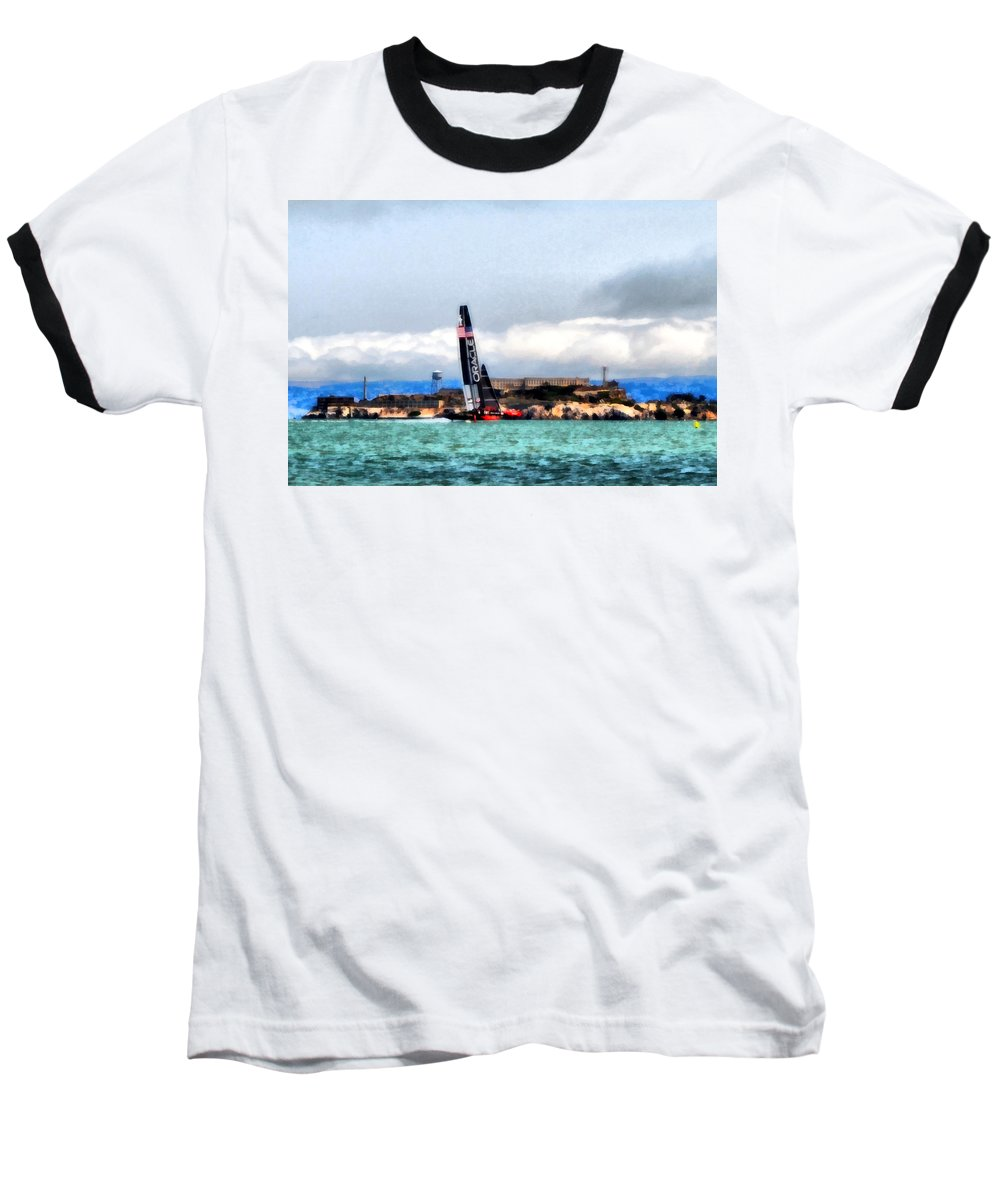 Sailing Baseball T-Shirt featuring the photograph Oracle Team Usa And Alcatraz by Michelle Calkins